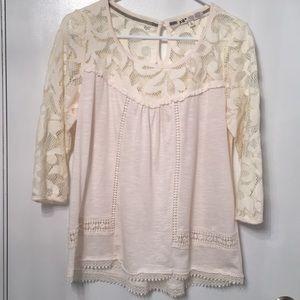 Boho lace top jolt L ivory white EUC